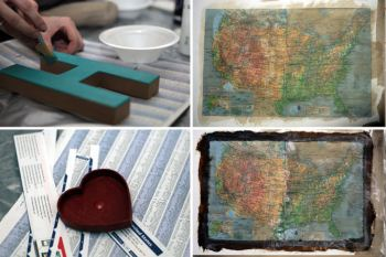 #4 Paint the letters, attach the map and age the map: Kuhl Kreations